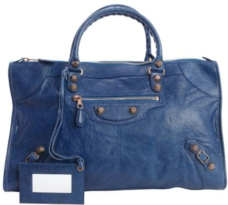 ... Cobalt Blue Distressed Leather Giant Work Large Top Handle Bag in Blue
