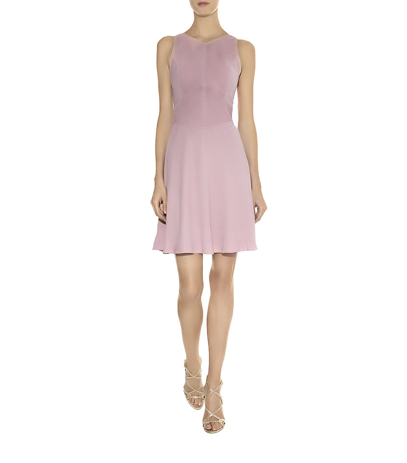 47cd93f4445d Reiss Rosa Pintuck Dress in Pink - Lyst