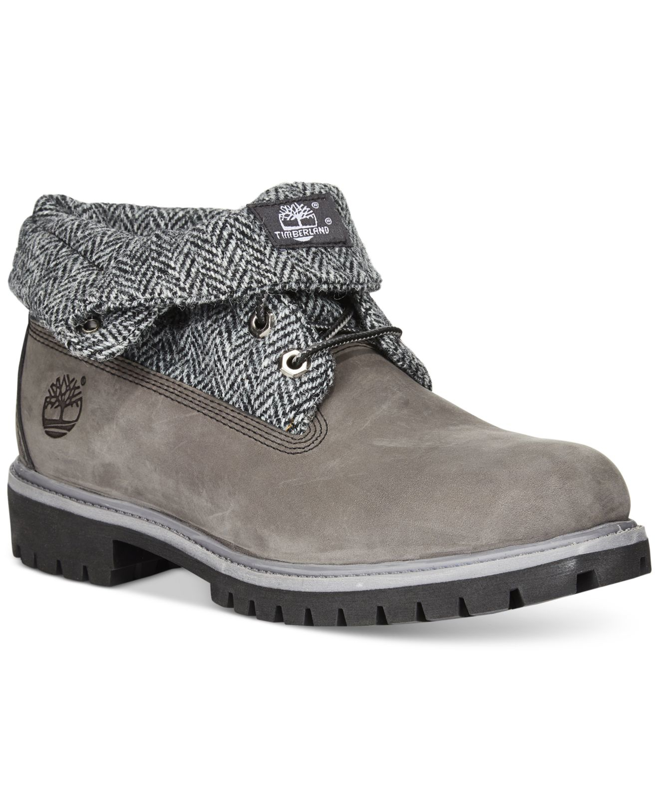 timberland men's roll top boots grey