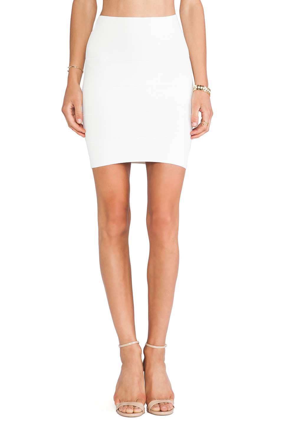 Bcbgmaxazria Mini Body Con Skirt in White | Lyst