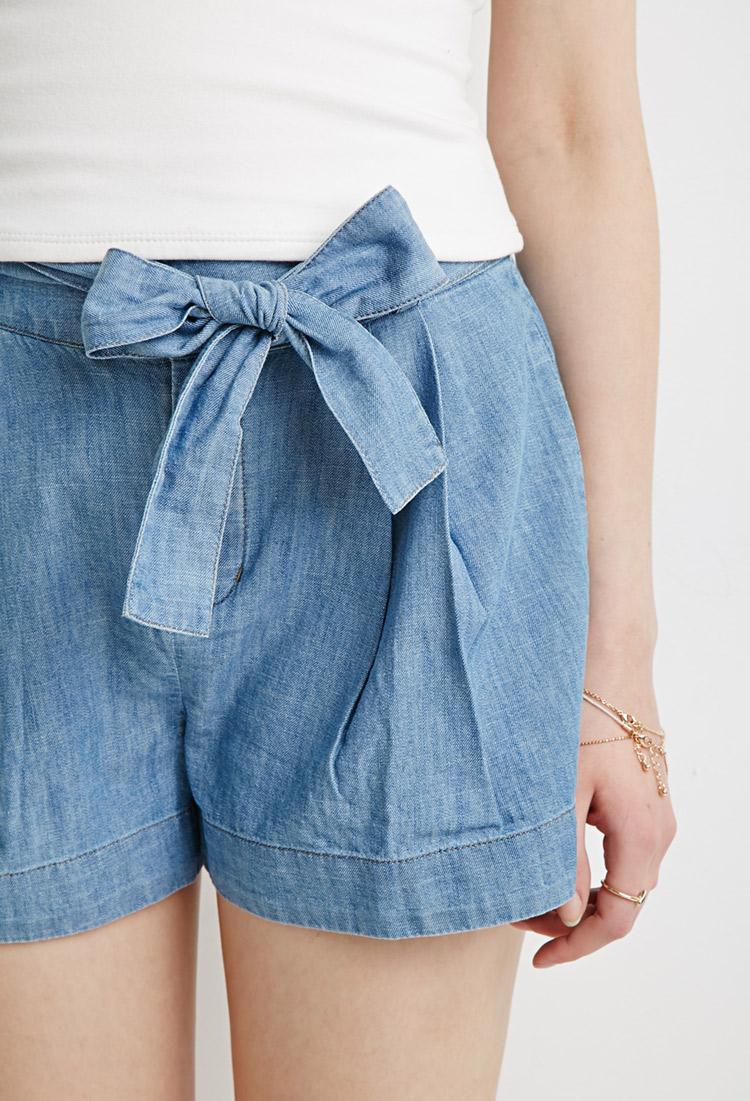 Lyst Forever 21 Denim Paper Bag Shorts In Blue
