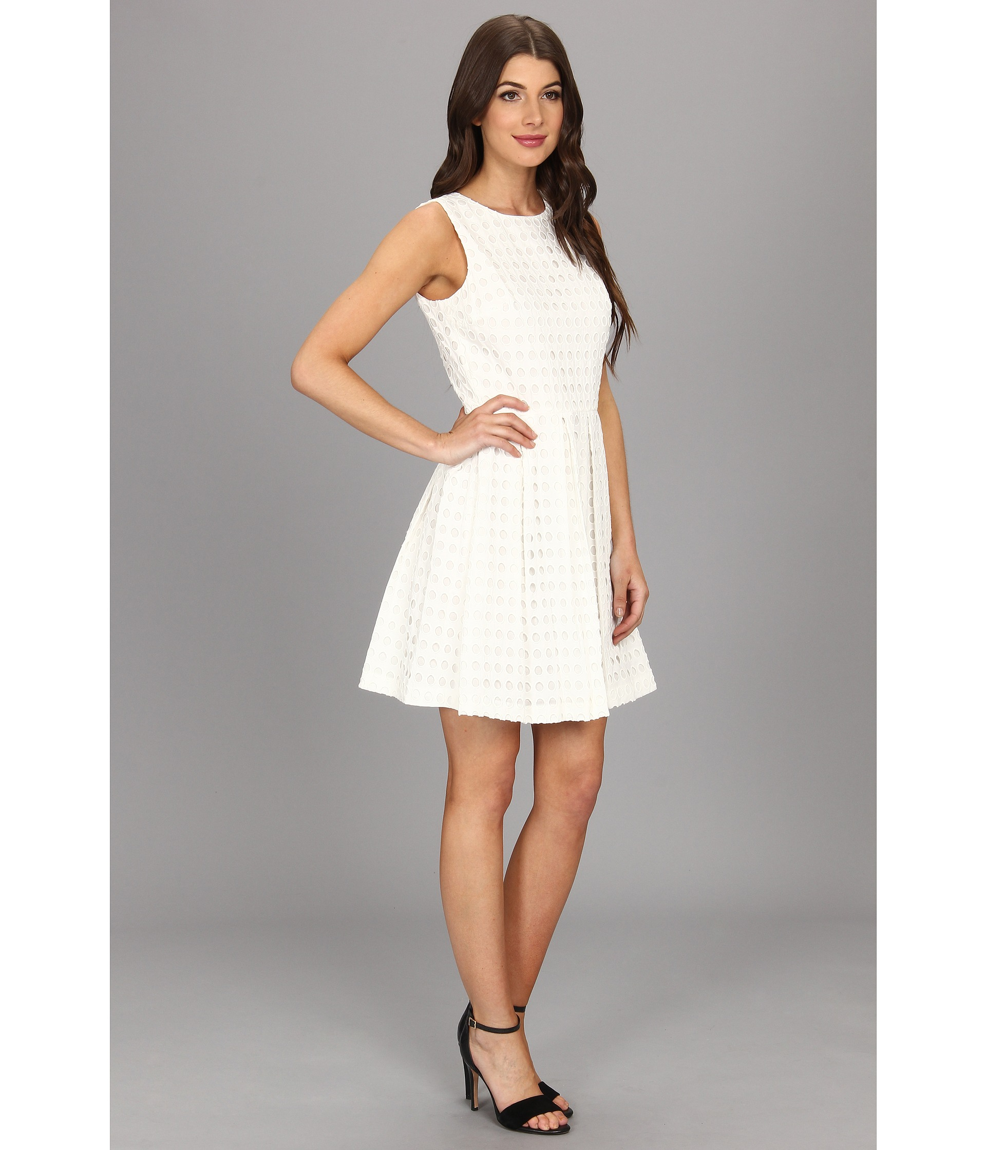 5c8297b827f Vince Camuto Circle Eyelet Dress in White - Lyst