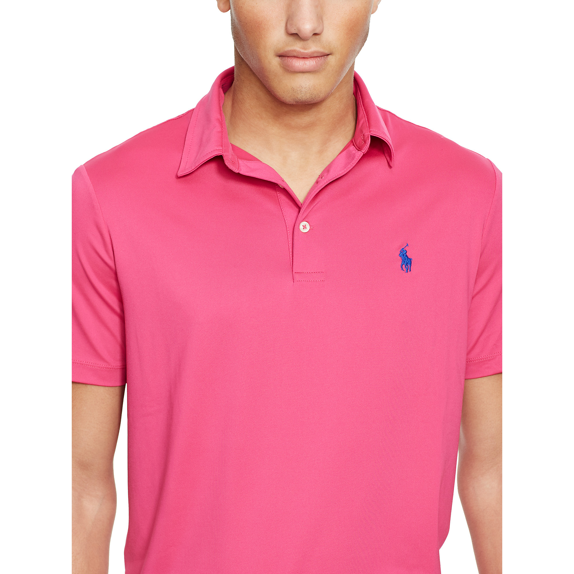 lyst polo ralph lauren custom fit performance polo in pink for men. Black Bedroom Furniture Sets. Home Design Ideas
