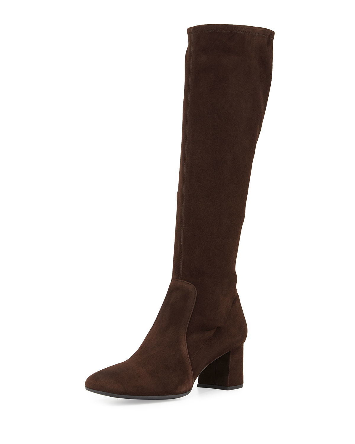 prada low heel stretch suede knee boot in brown