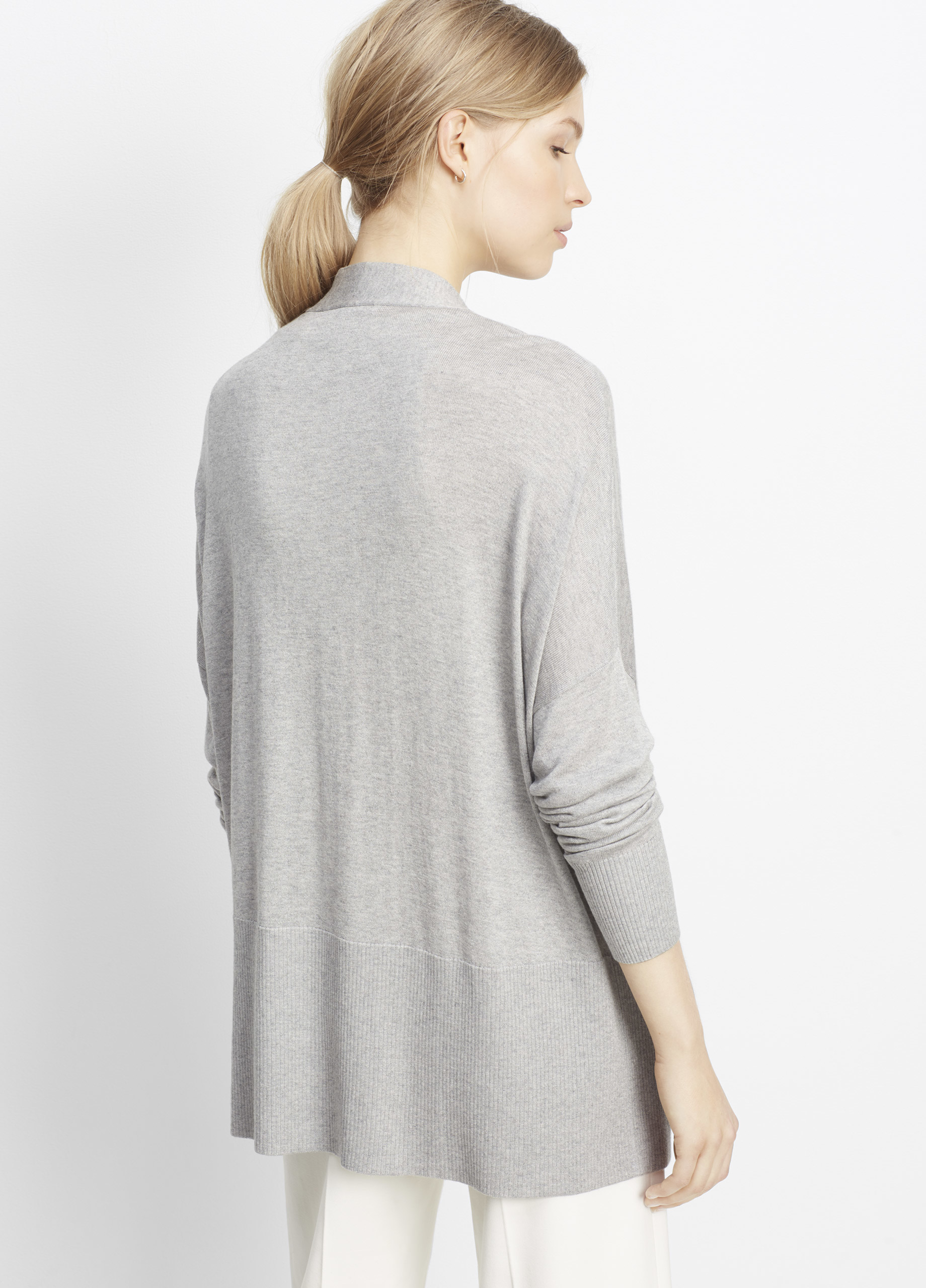 Vince Silk Cashmere Open Front Cardigan in Gray | Lyst