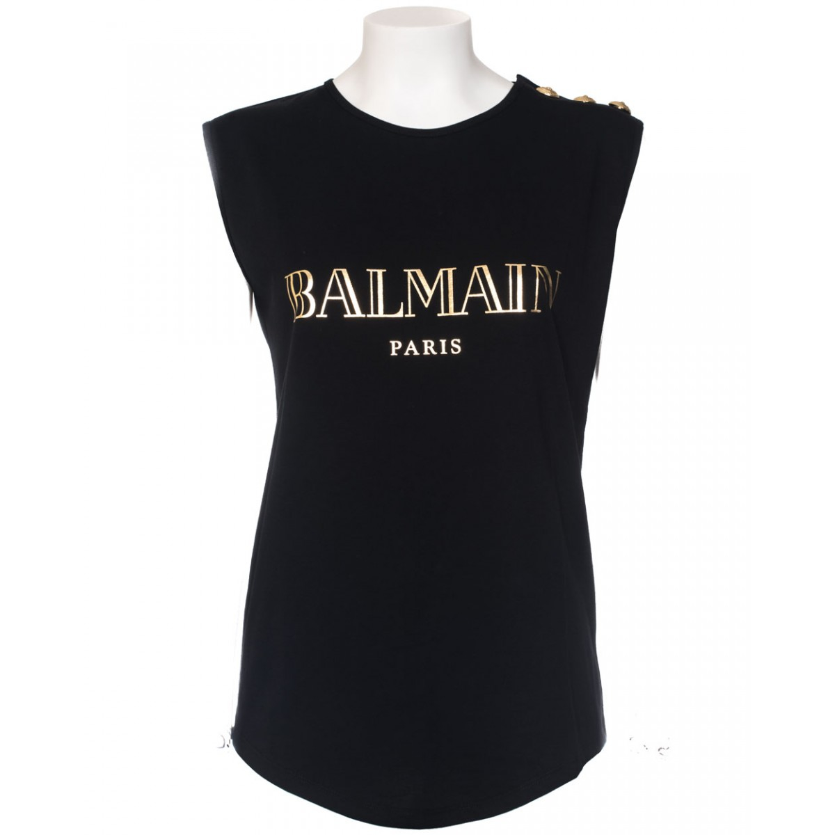 balmain logo print t shirt in black lyst. Black Bedroom Furniture Sets. Home Design Ideas