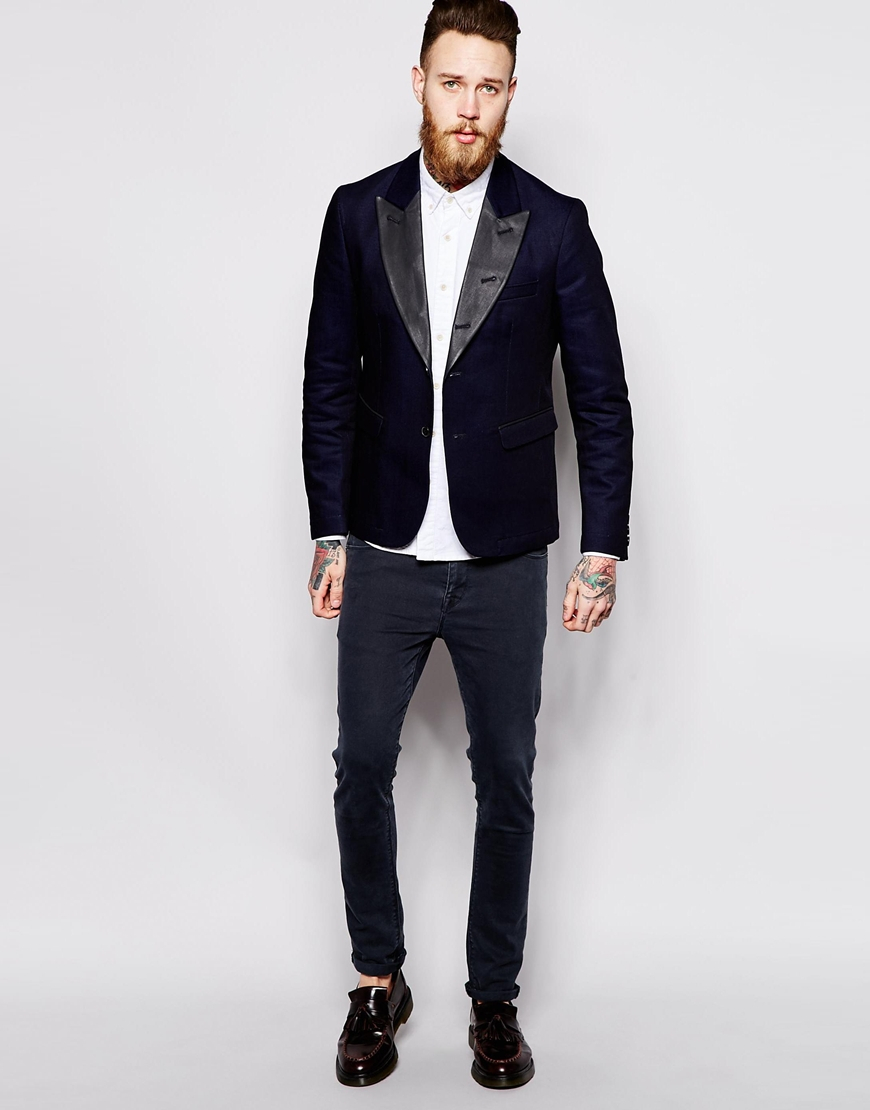 Nudie jeans Nudie Denim Tuxedo Jacket Wilhelm Coated Black Lapel