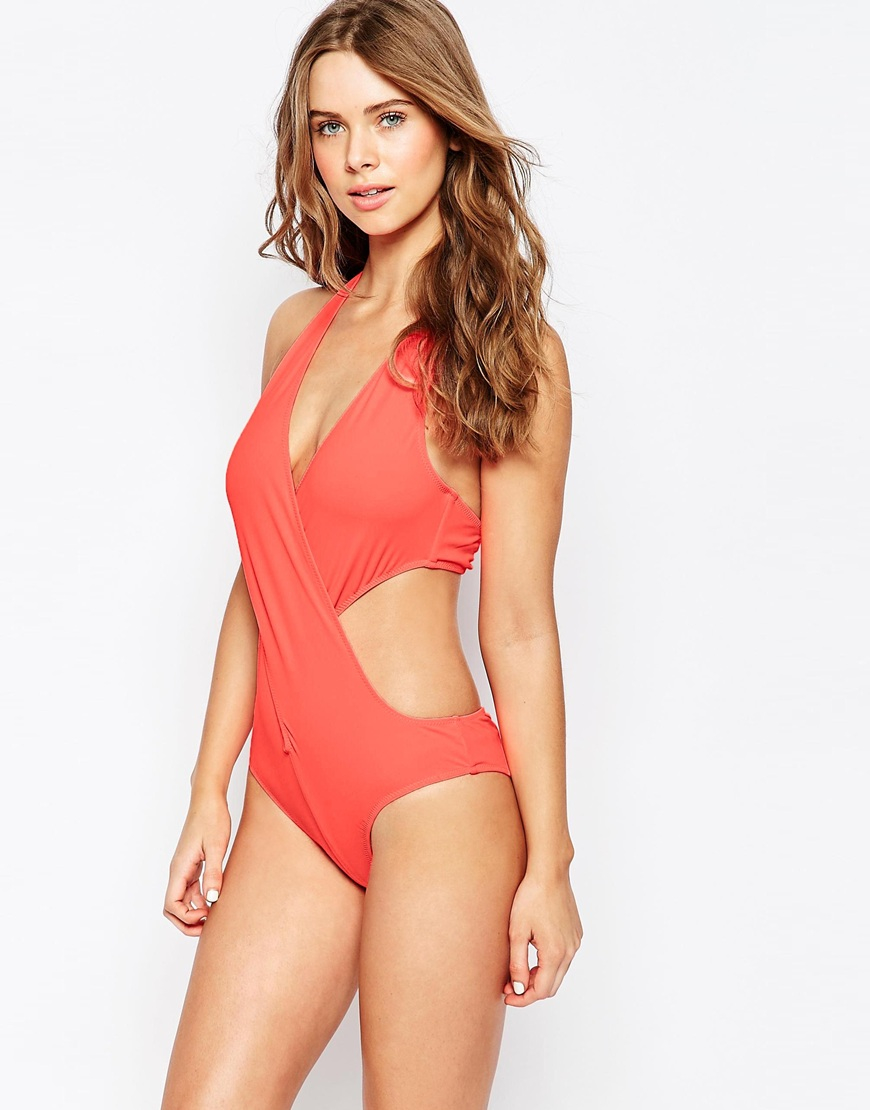 Goddiva Cut Out Swimsuit in Pink | Lyst