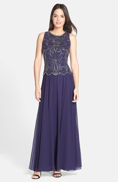 Lyst J Kara Beaded Mock Two Piece Gown In Purple
