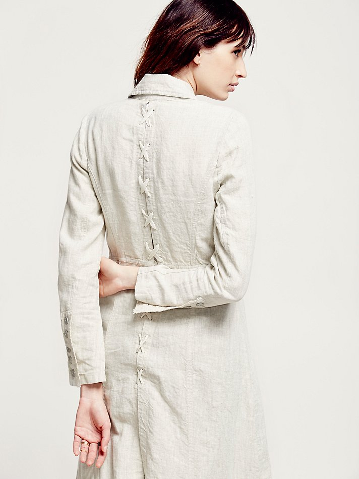 Lyst Free People Womens Linen Long Lace Up Jacket In White