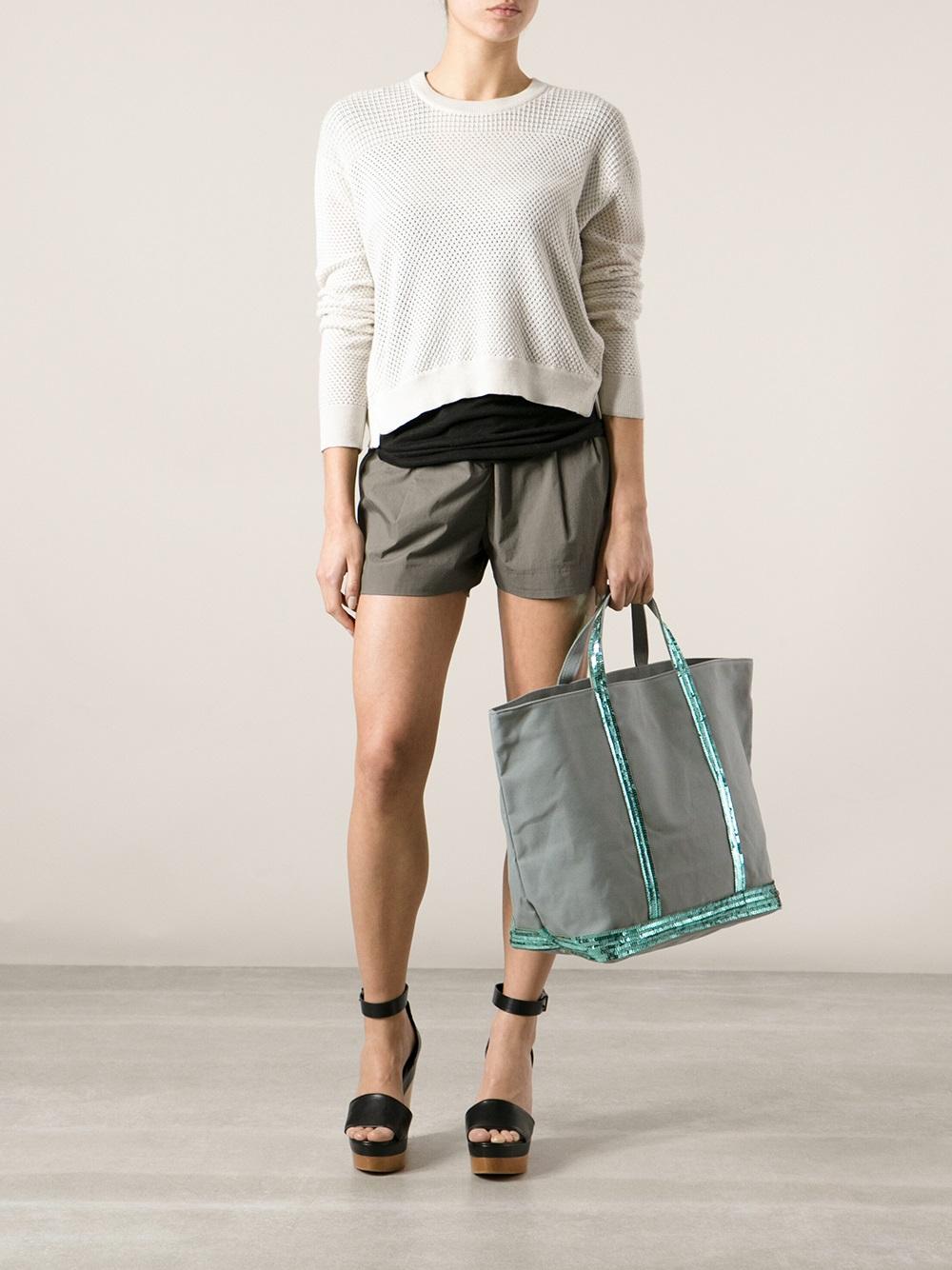 lyst vanessa bruno cabas large shopper in gray. Black Bedroom Furniture Sets. Home Design Ideas
