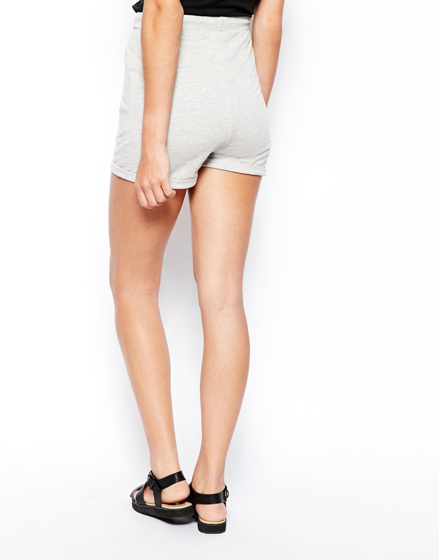 Asos High Waisted Shorts In Sweat Fabric in Gray   Lyst
