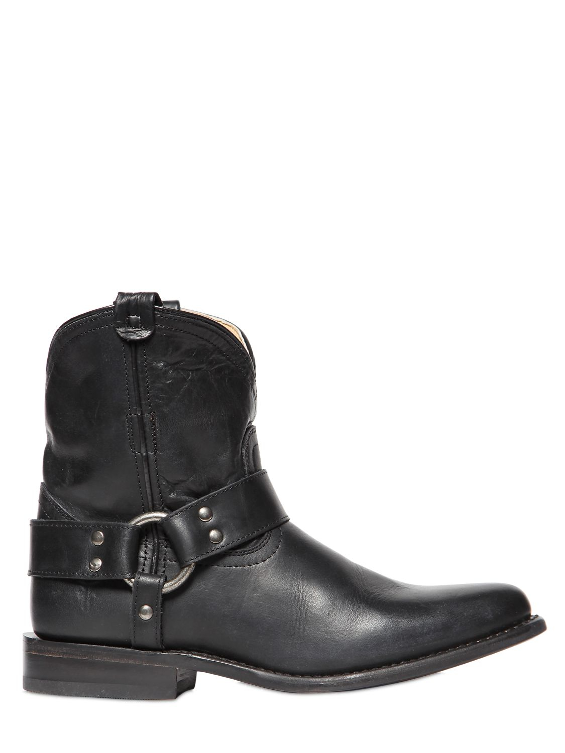 Frye 20Mm Wyatt Harness Leather Cowboy Boots in Black | Lyst