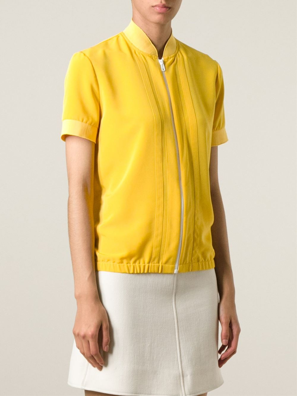 Carven Short Sleeve Bomber Jacket in Yellow | Lyst