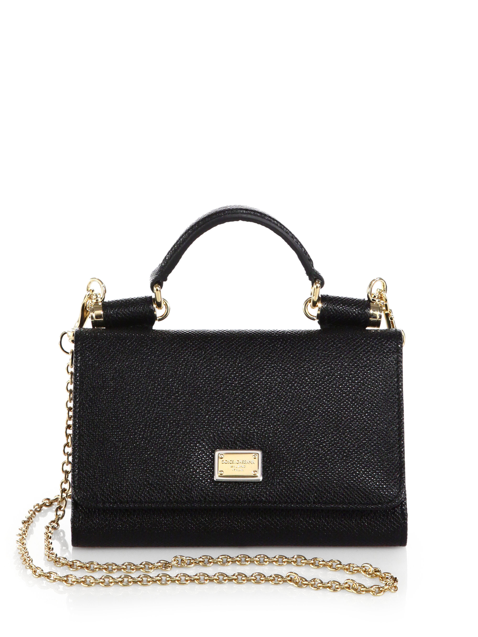 1f450a43b1b2 Lyst - Dolce   Gabbana Miss Sicily Mini Chain Wallet in Black