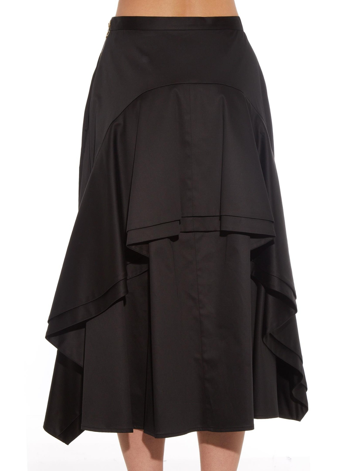 rochas gathered and ruffled midi skirt in black lyst