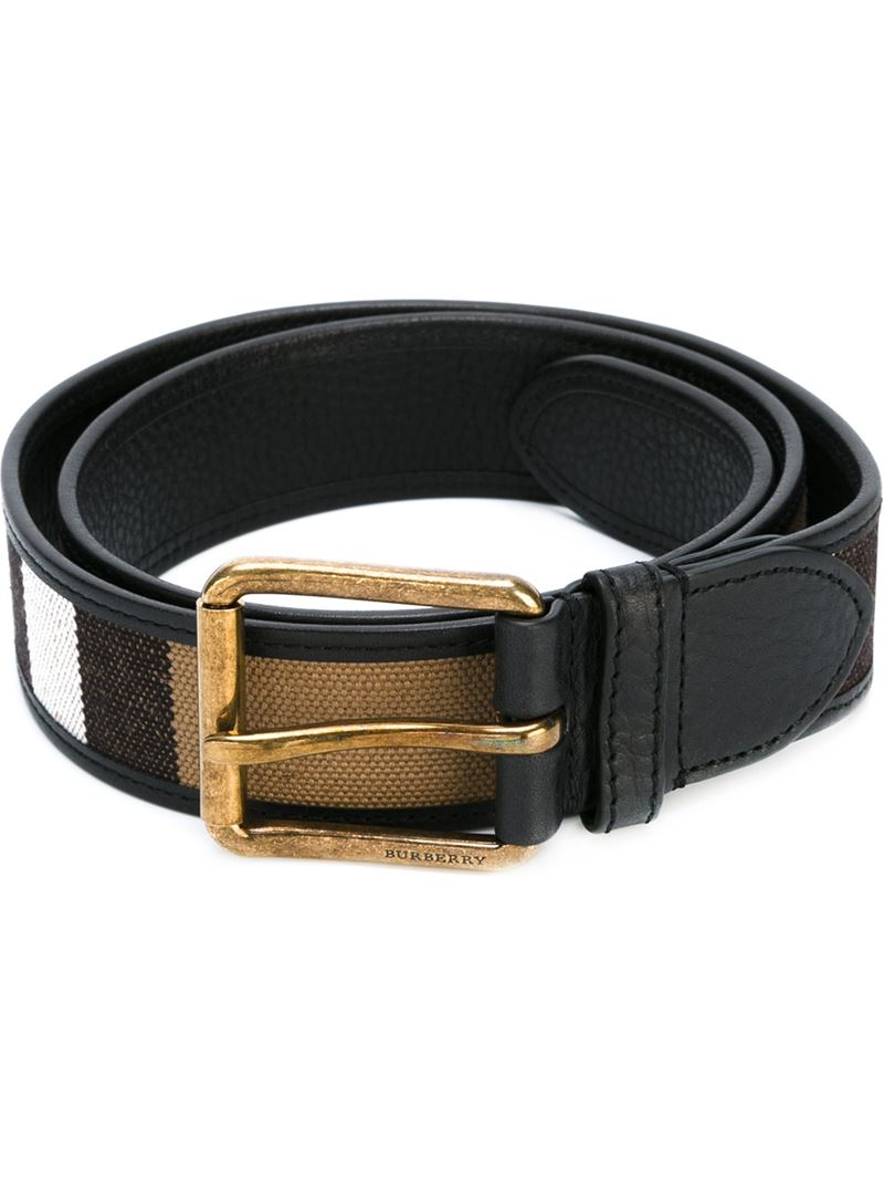 Burberry House Check Print Belt in Gold for Men (BLACK)