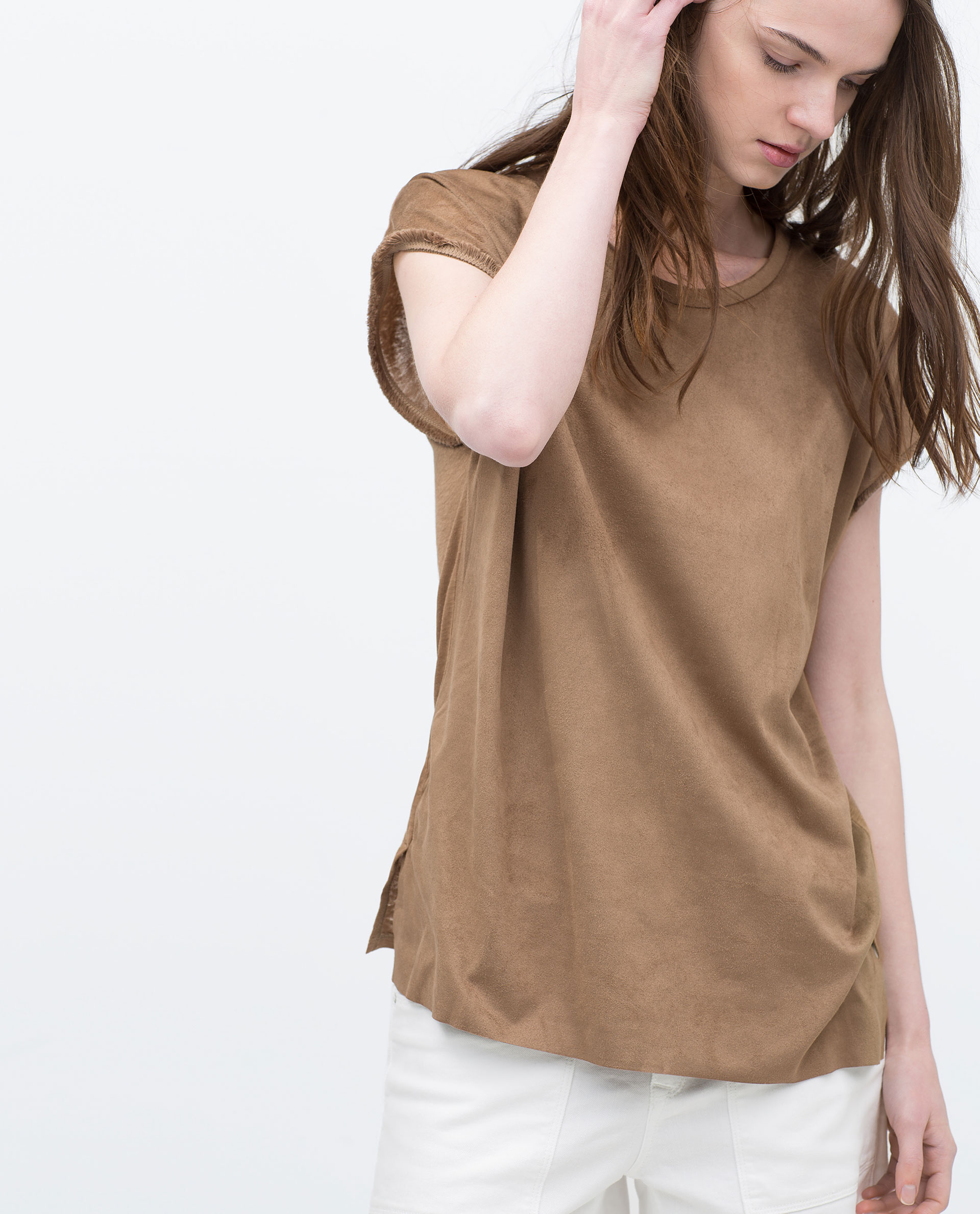 zara fringed sleeve faux suede t shirt fringed sleeve faux