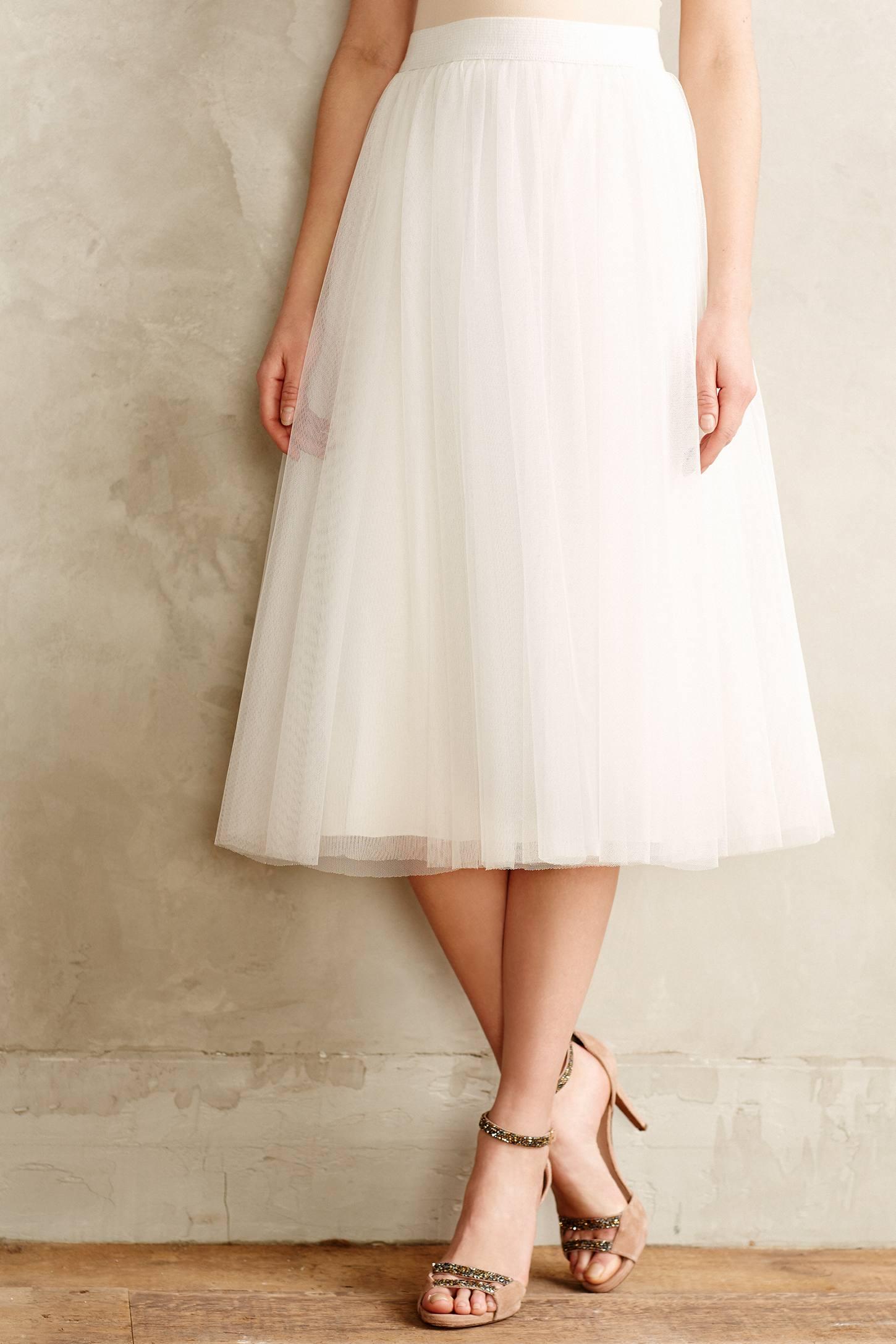 bailey 44 tulle midi skirt in white lyst
