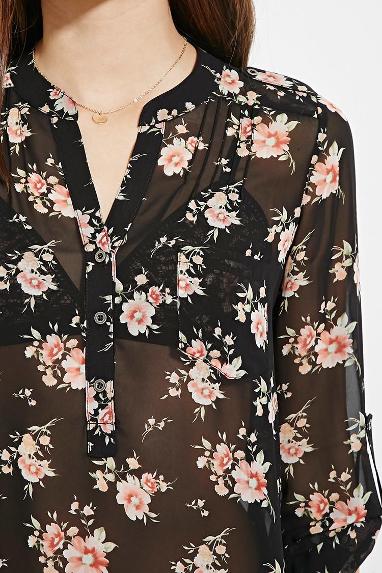 Black Floral Blouse Fashion Ql
