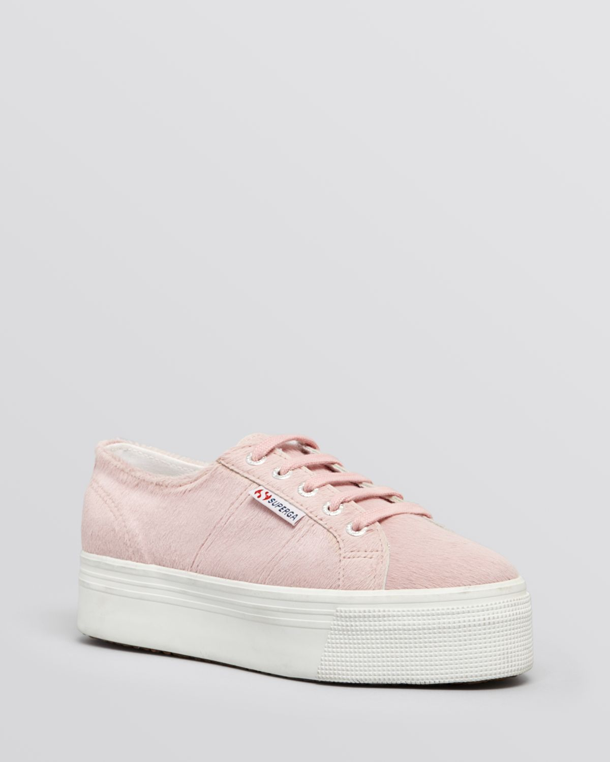 8acbb155da29 Lyst - Superga Lace Up Sneakers Double Platform Haircalf in Pink