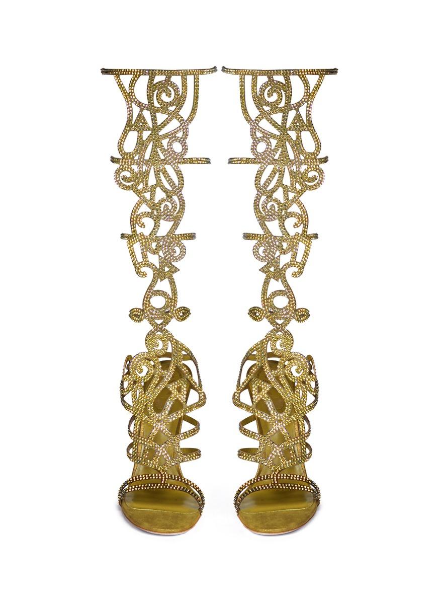Rene Caovilla Marlene Crystal Spiral Venetian Sandals In