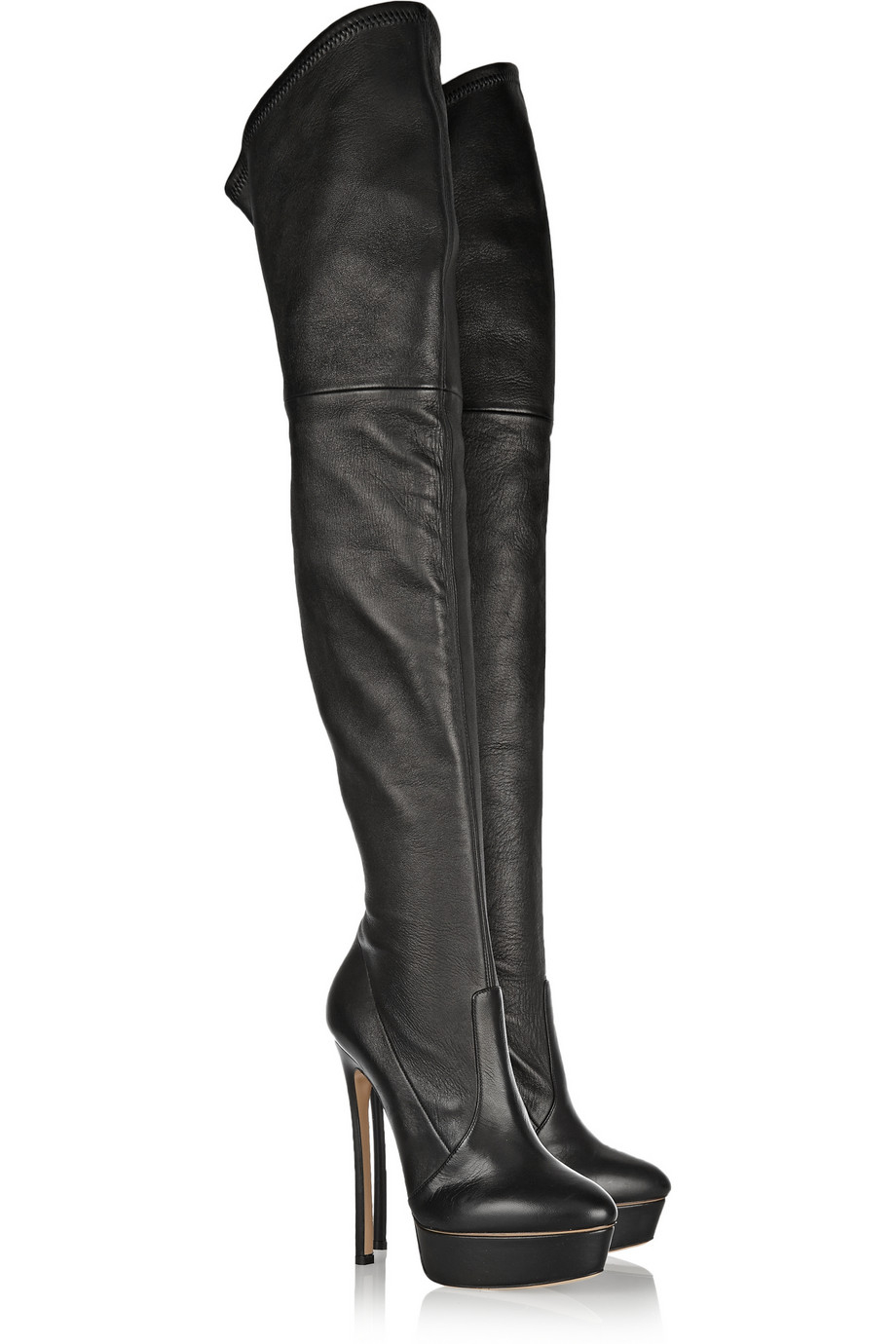 9066d6dc1c4 Lyst - Casadei Stretch-Leather Over-The-Knee Boots in Black