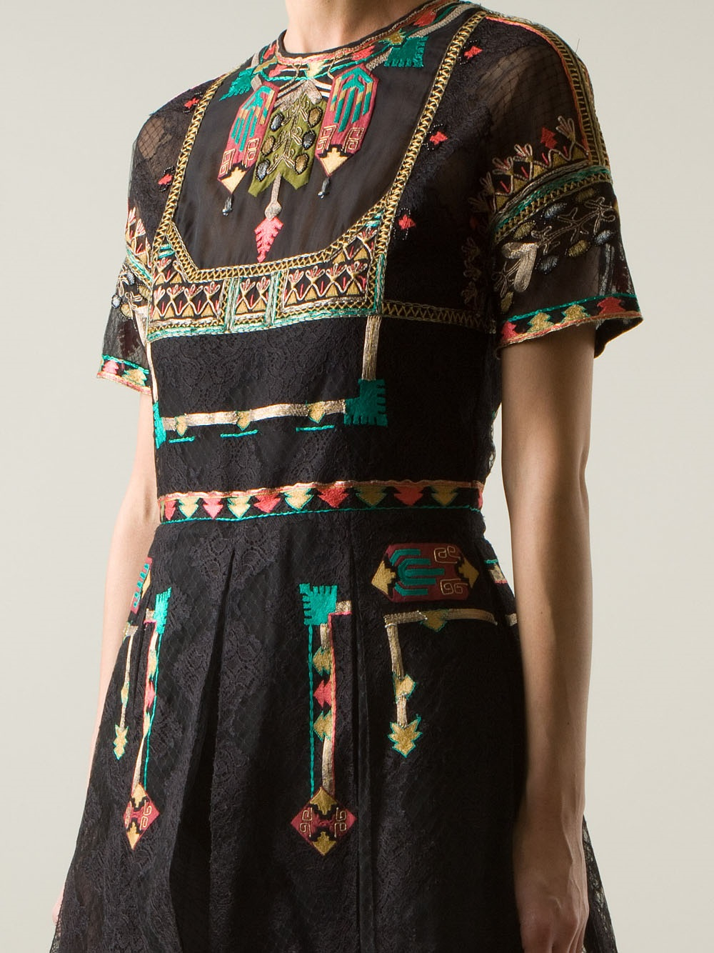 Valentino Embroidered Lace Dress In Black Lyst