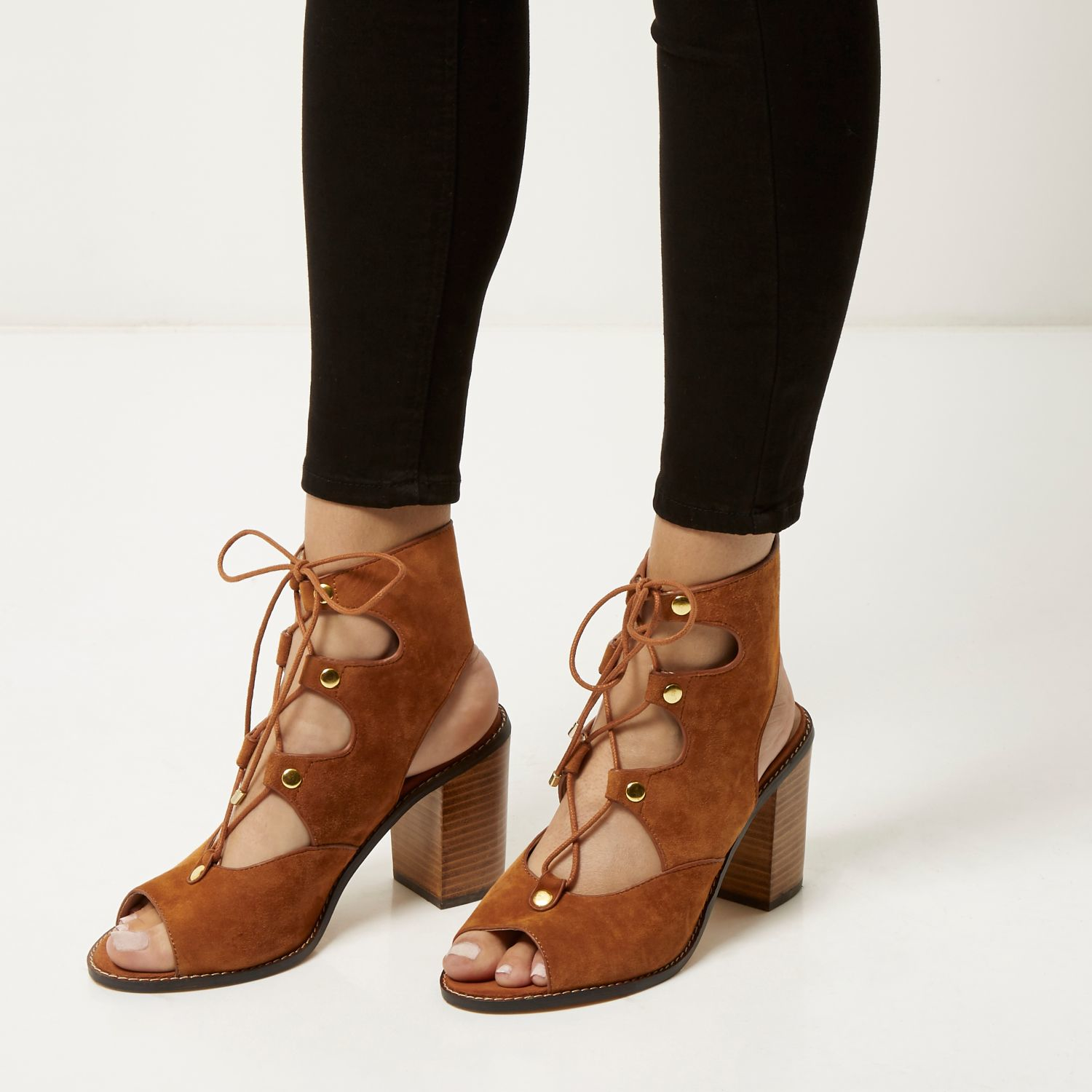 a301d11c809c River Island Tan Suede Ghillie Lace Up Heeled Sandals in Brown - Lyst