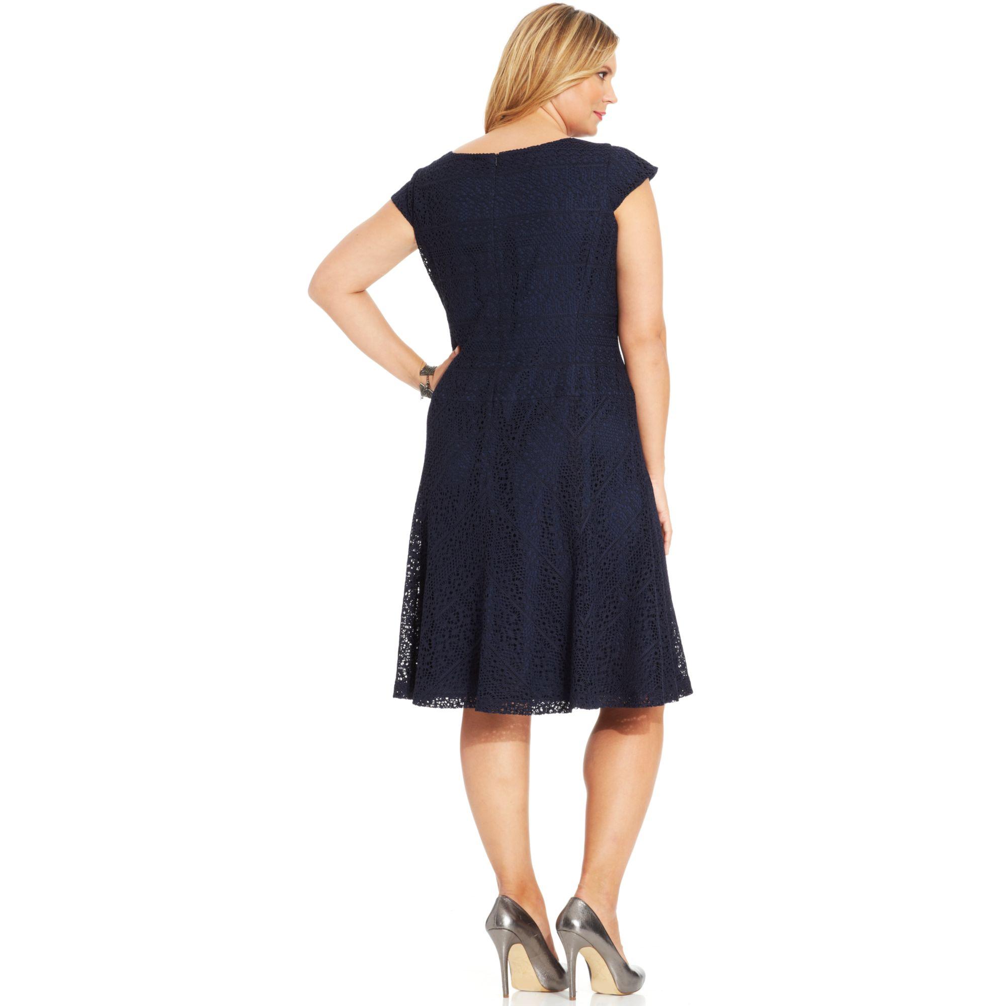 Anne Klein Plus Size Capsleeve Crochetlace Dress In