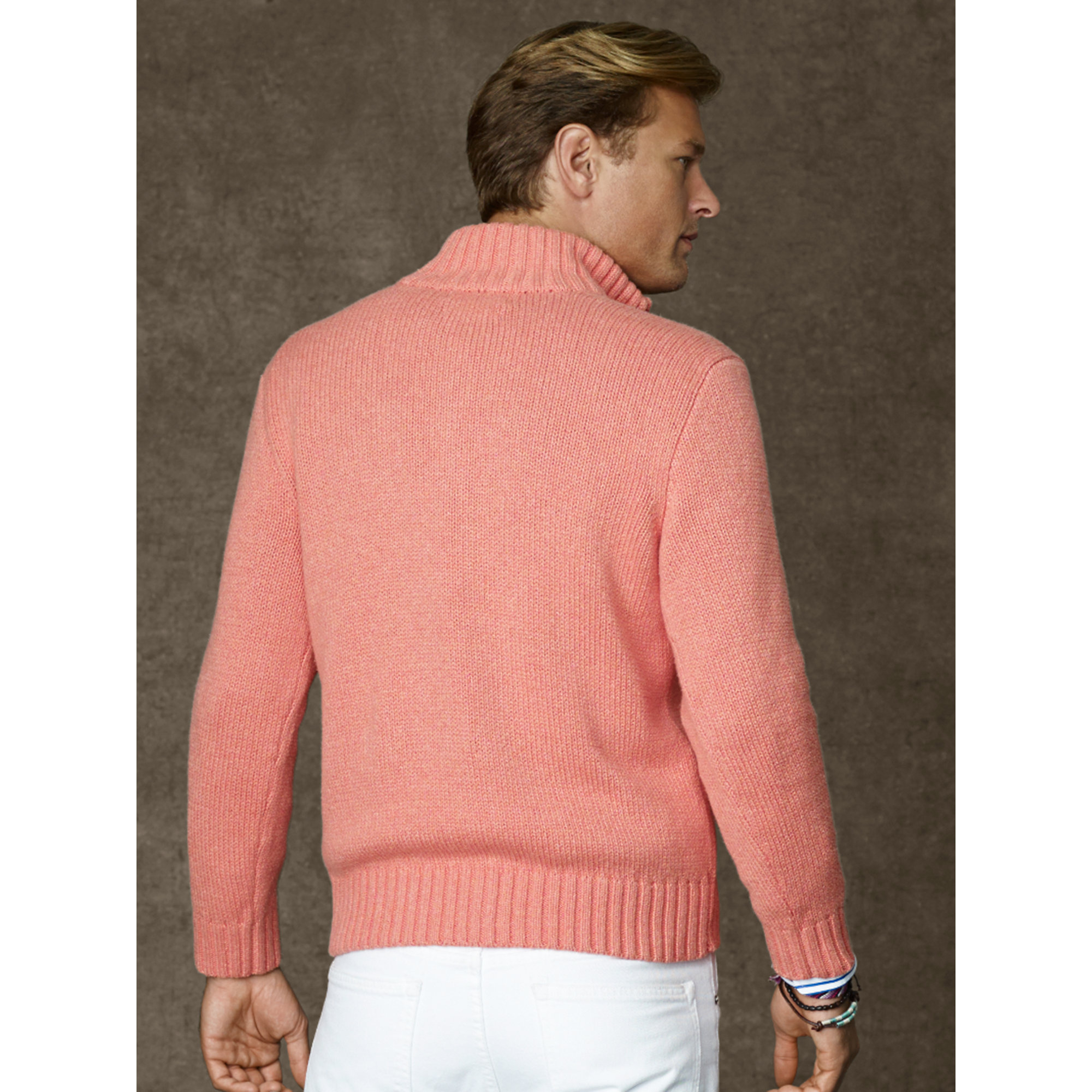 Polo Ralph Lauren. Men\u0026#39;s Pink Cotton Half-zip Sweater