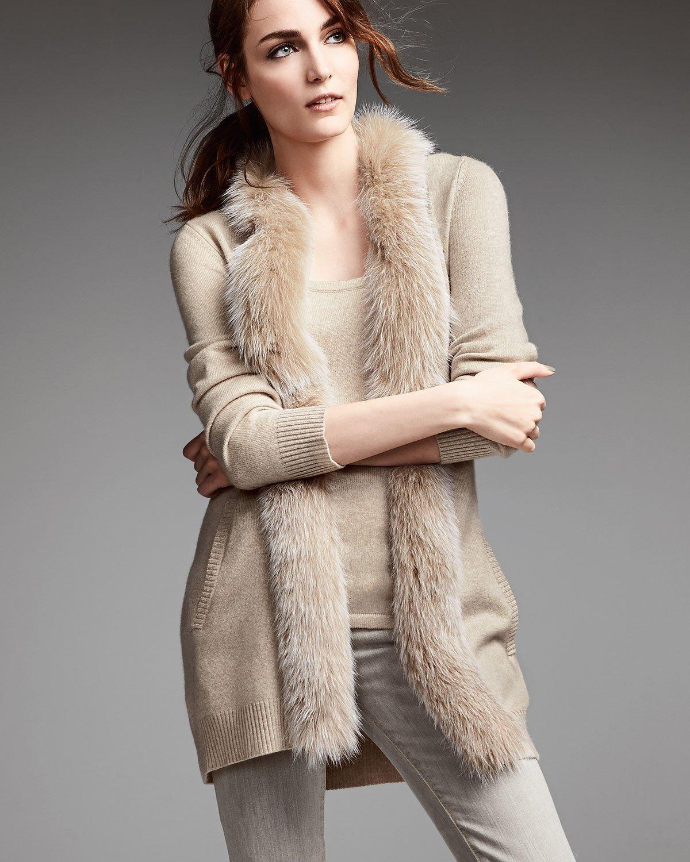 Sofia cashmere Fur-Trimmed Cashmere Cardigan & Cashmere Tank in ...