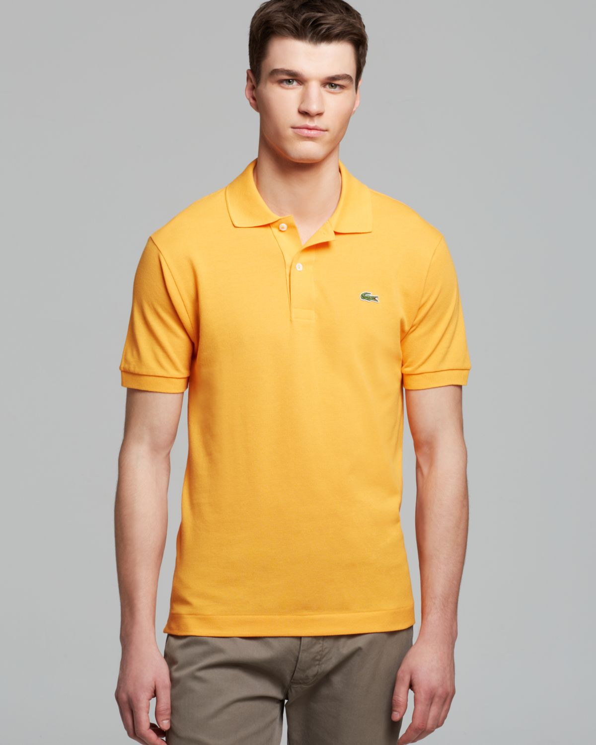 34a7c193 Lacoste Classic Short Sleeve Pique Polo Shirt in Yellow for Men - Lyst