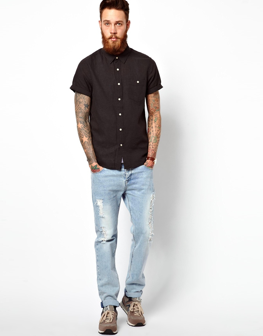 Asos Shirt In Short Sleeve With Linen Mix In Black For Men