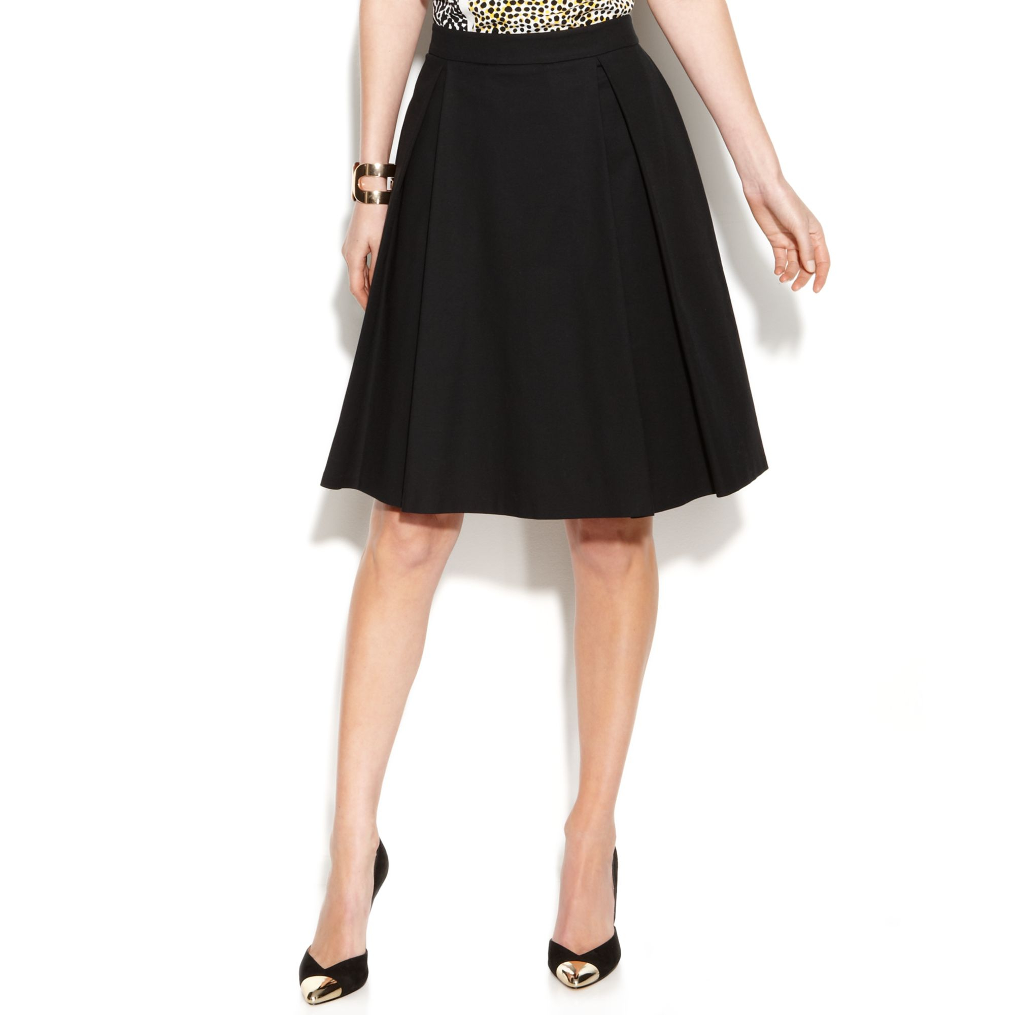 Vince camuto Pleated A-line Skirt in Black | Lyst