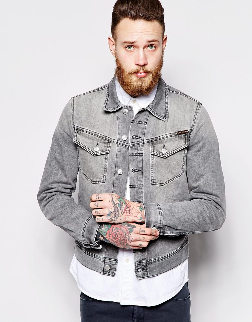 Nudie jeans Nudie Denim Jacket Conny Washed Fog Gray Back Embro in ...
