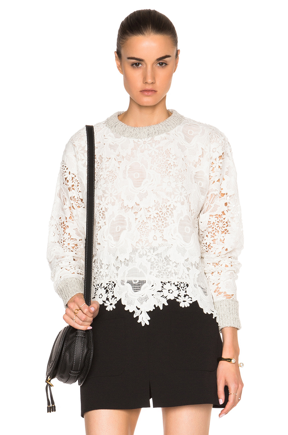 See by chloé Lace Pullover Sweater in White | Lyst
