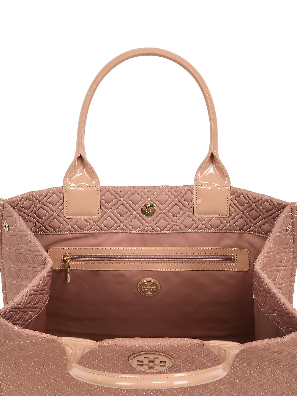 6876be5511f3 Tory Burch Ella Quilted Nylon Tote Bag in Pink - Lyst