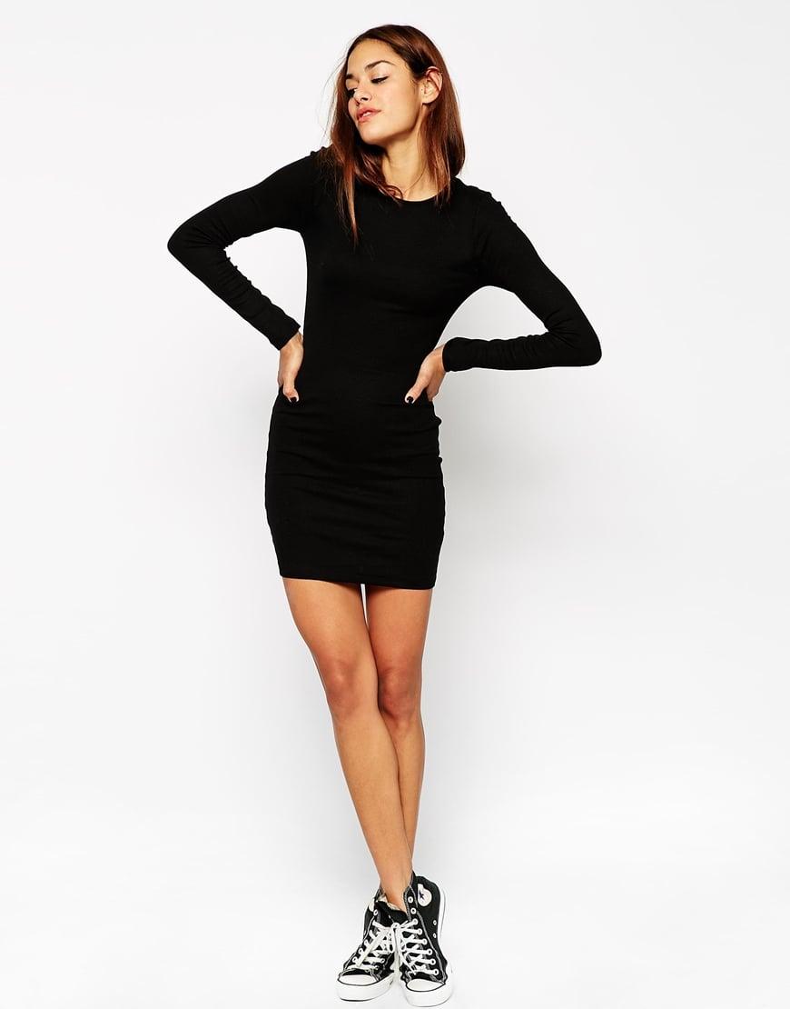 Long sleeve black mini bodycon dress