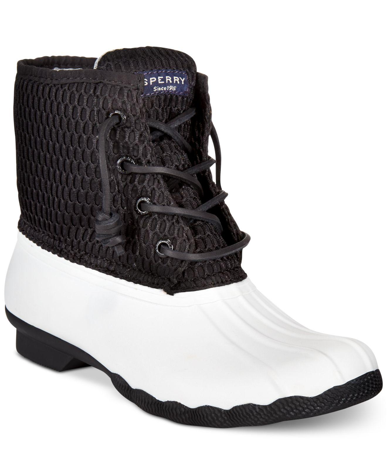 ee3ecedc3bd3 Lyst - Sperry Top-Sider Women s Saltwater Duck Booties in Black sperry duck boots  womens