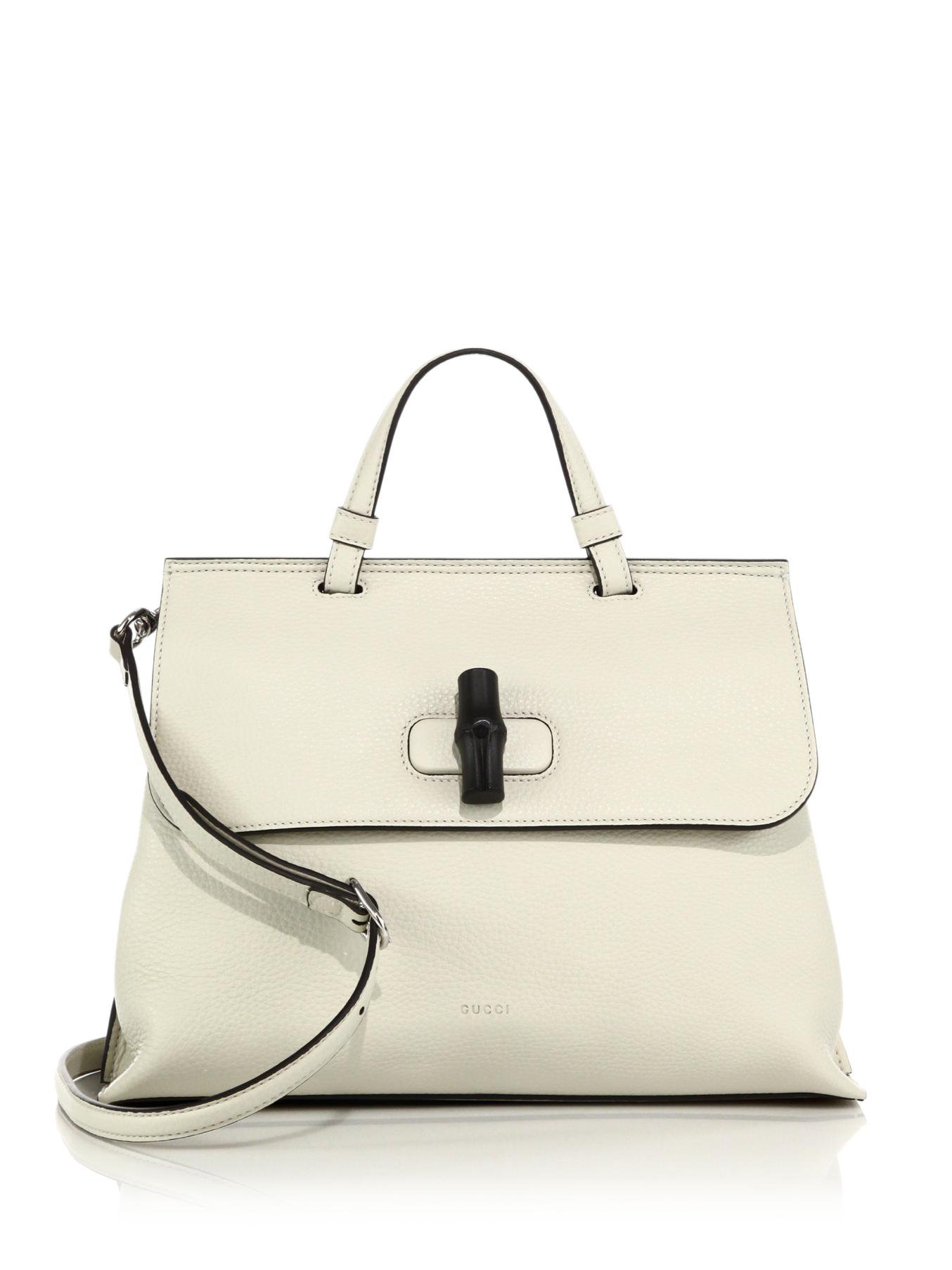 8dca11cf5b46 Lyst - Gucci Bamboo Daily Leather Top Handle Bag in White