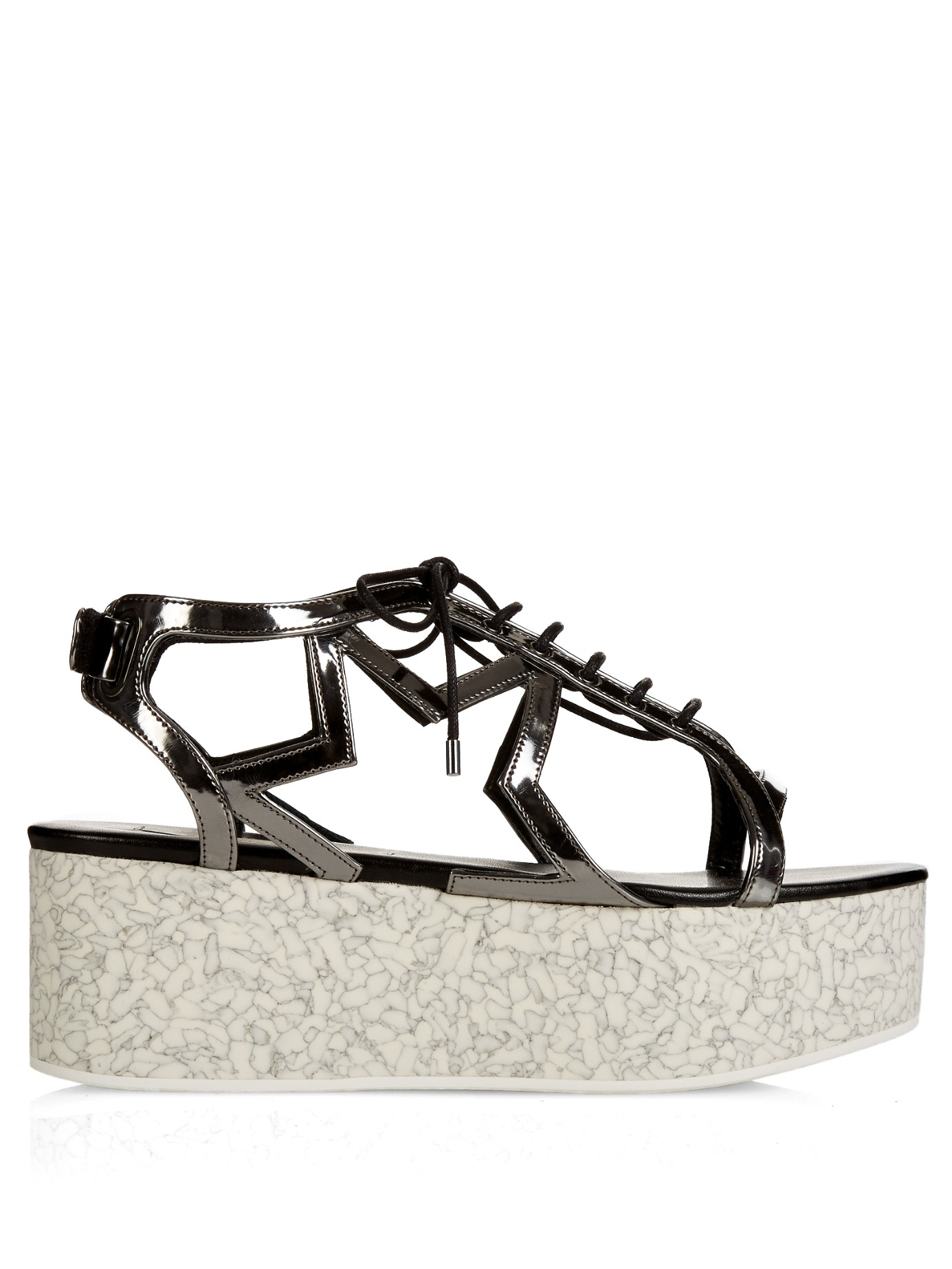 c2248394084a Lyst - Stella McCartney Lucy Star Metallic Faux Leather Platform ...