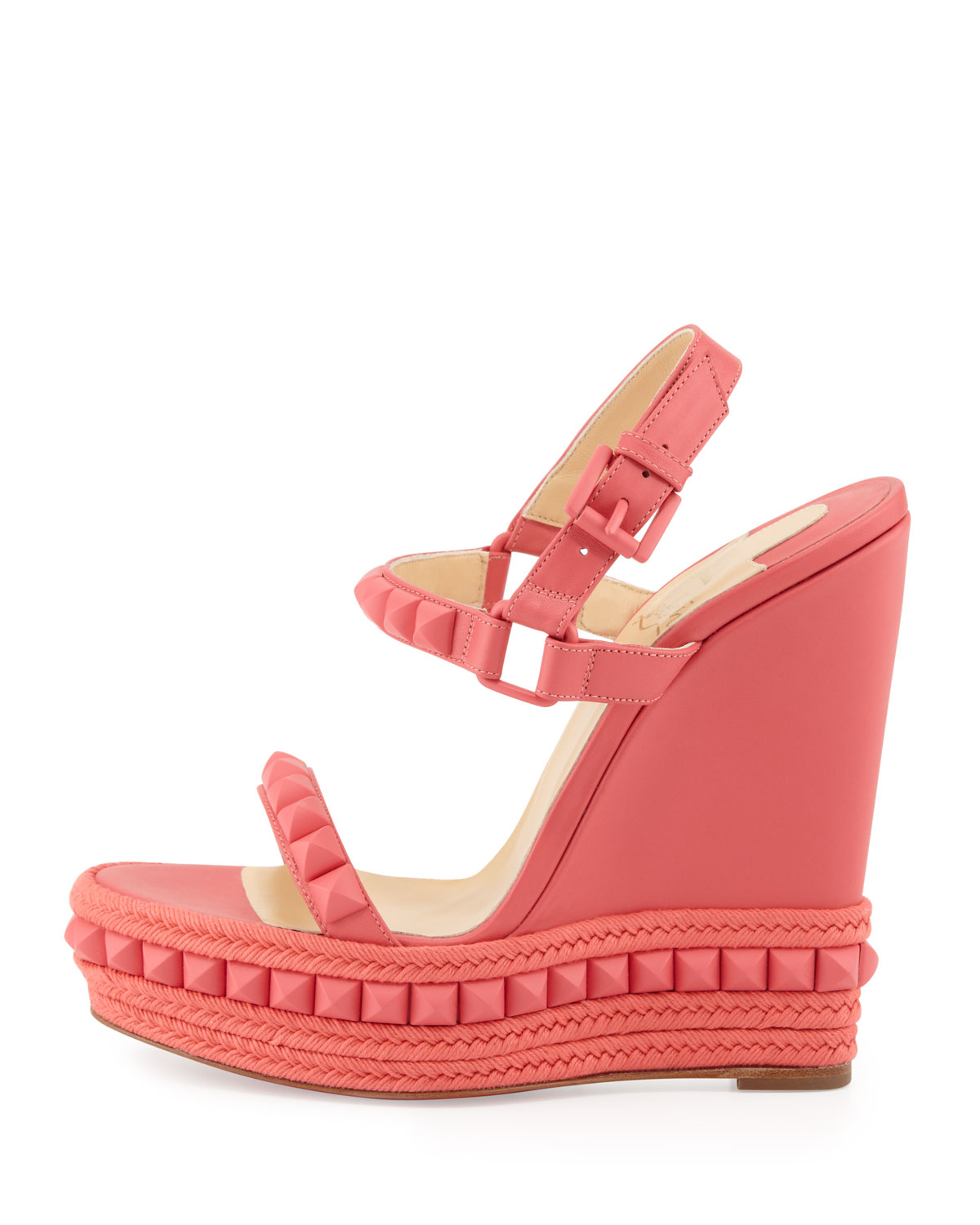 Christian Louboutin Cataclou Studded Wedge Sandal Pink In