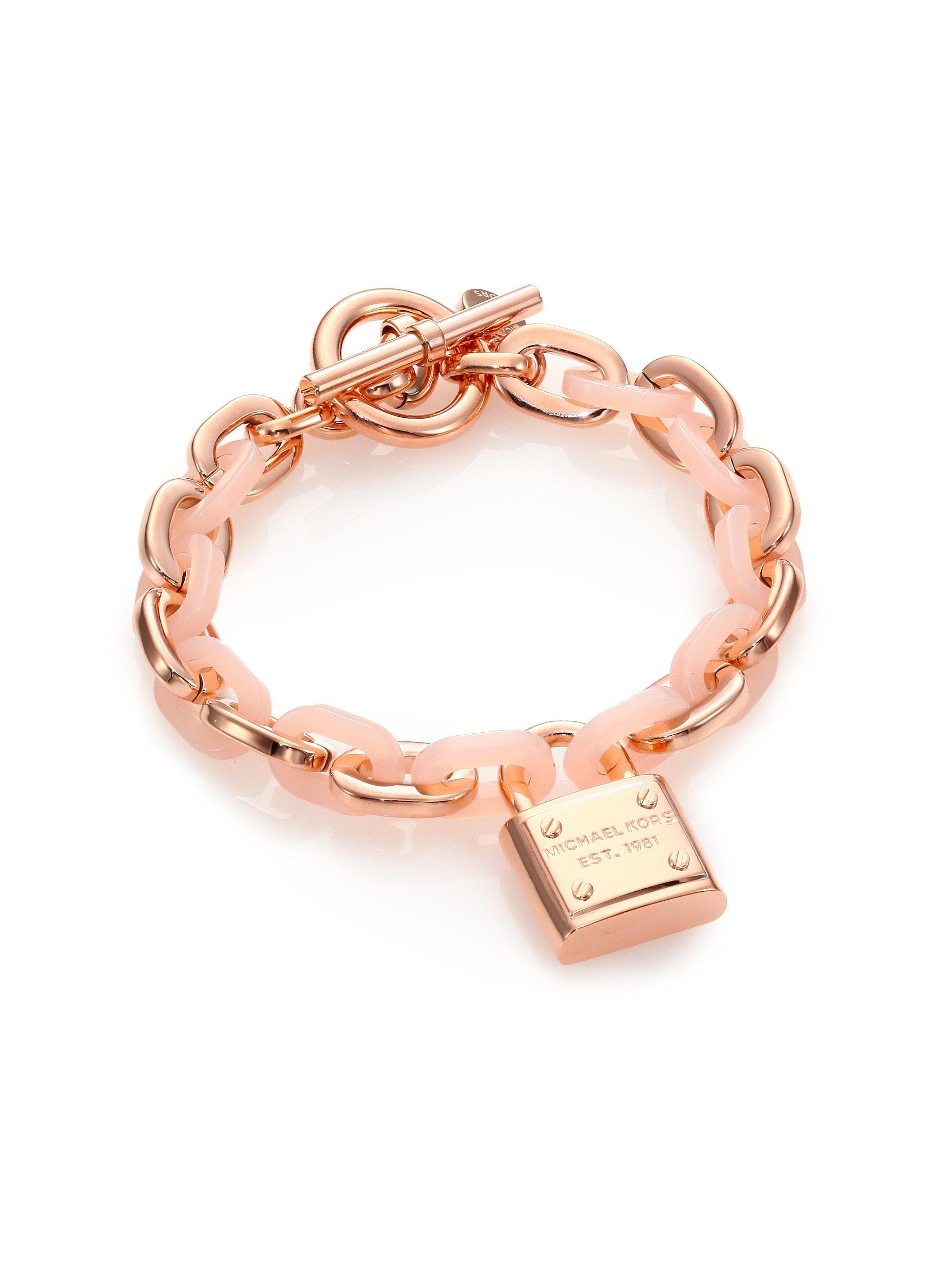 Michael kors Rose & Blush Padlock Charm Bracelet in Pink ...