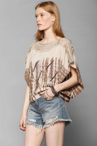 Urban Outfitters Crochet Top Tie Dye Blouse In Brown Lyst