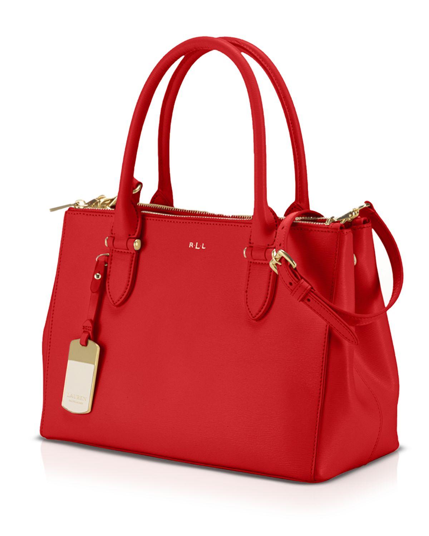 7f0b2a93a4f Lyst - Ralph Lauren Lauren Tote - Newbury Double Zip Shopper in Red
