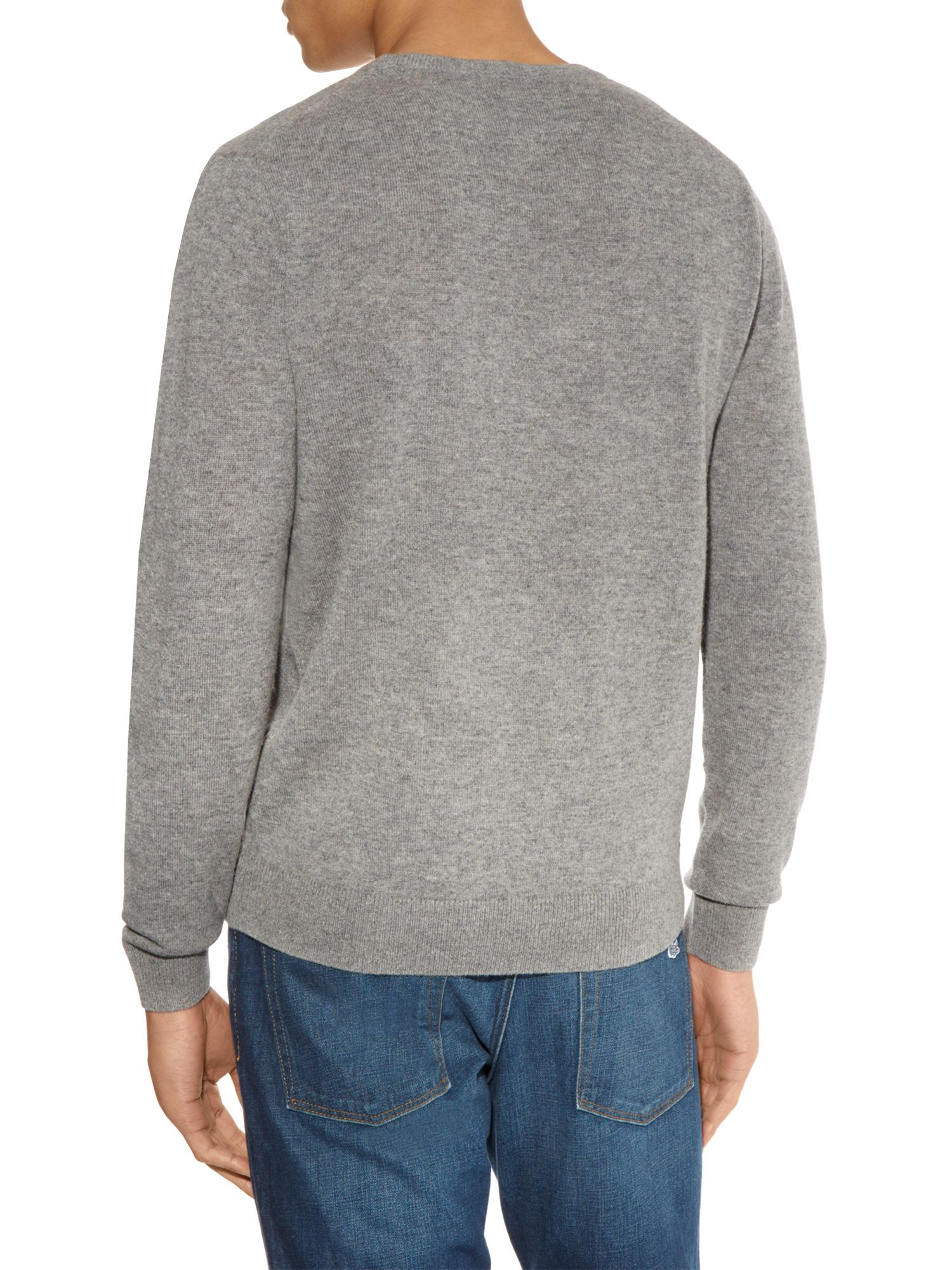 lacoste crew neck wool sweater in gray for men stone lyst. Black Bedroom Furniture Sets. Home Design Ideas
