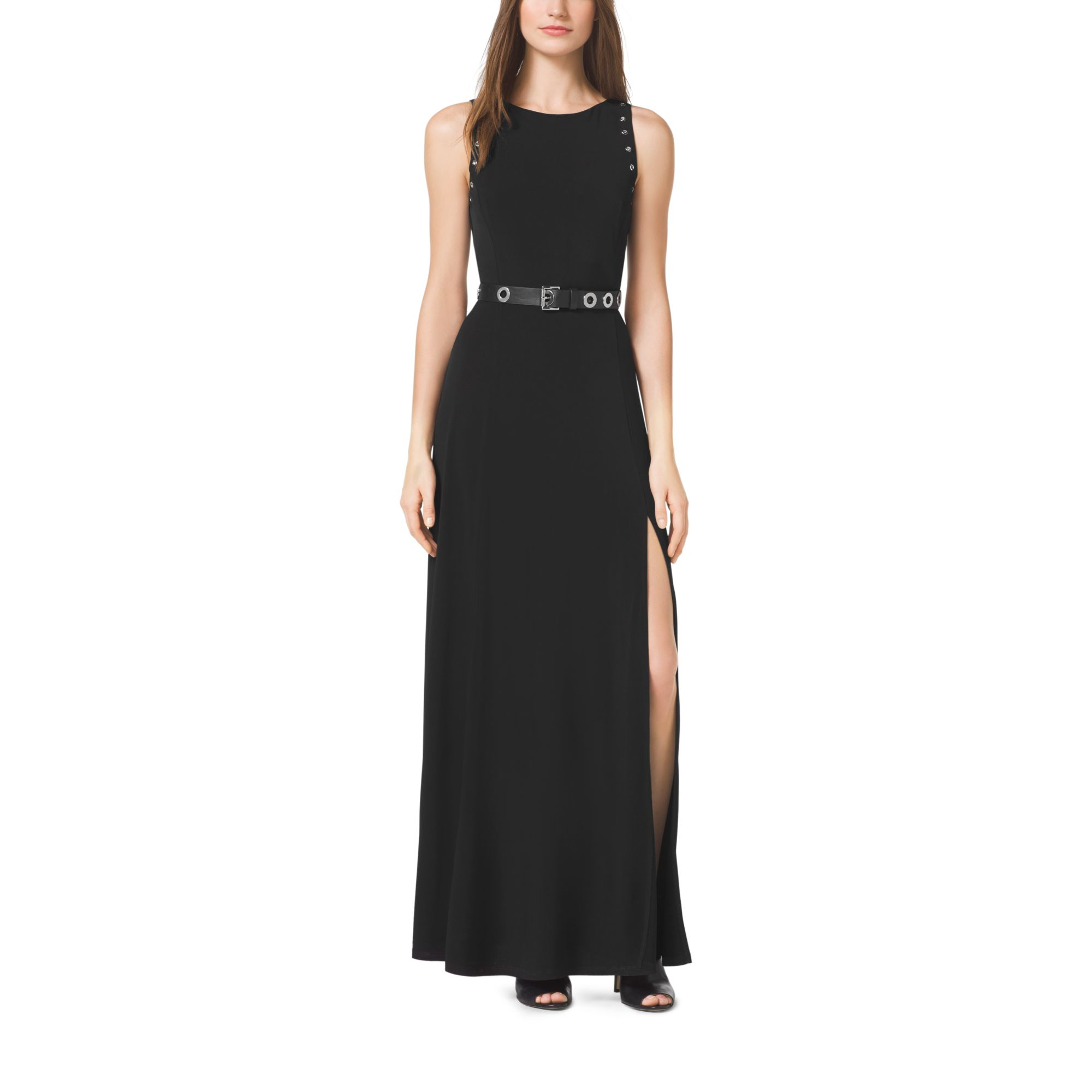30d3da83d24 Lyst Michael Kors Grommet Belted Maxi Dress In Black