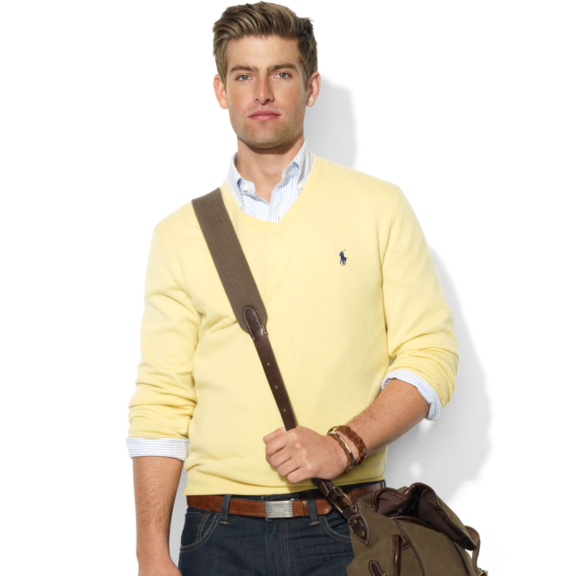 Ralph lauren Vneck Merino Wool Sweater in Yellow for Men | Lyst