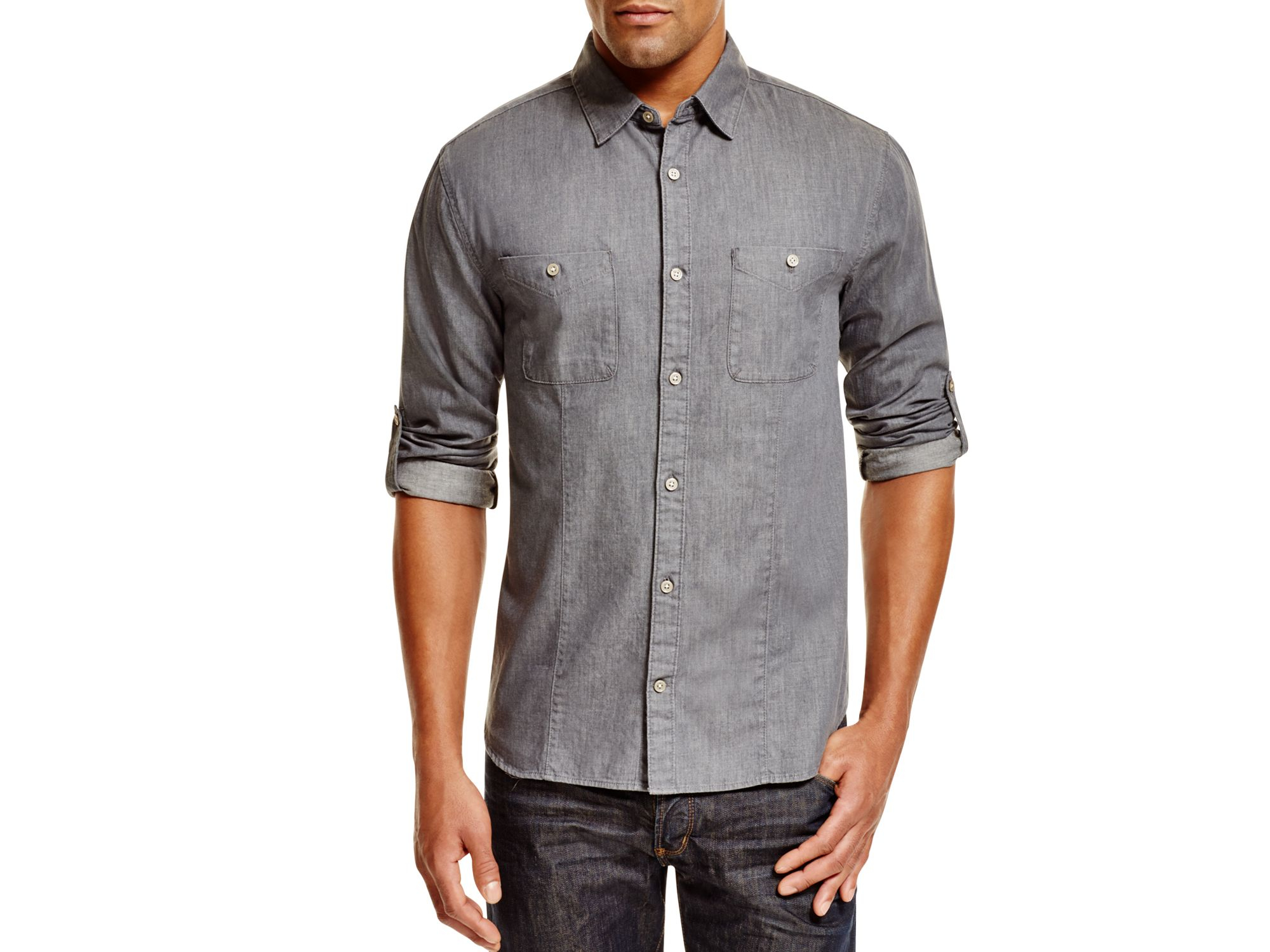 John varvatos Gray Chambray Slim Fit Button Down Shirt in Gray for ...